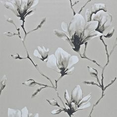 Shop for Wallpaper at Style Library: Lotus by Harlequin. A painterly magnolia trailing wallpaper design produced in a wid. Lotus Wallpaper, Rose Gold Wallpaper, Grey Wallpaper, Print Wallpaper, Fabric Wallpaper, Wallpaper Roll, Magnolia Wallpaper, Wallpaper Stairs, Wallpaper Patterns