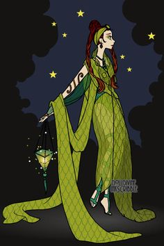 Ert green ~ by idahay ~ created using the Erte Elegance doll maker | DollDivine.com