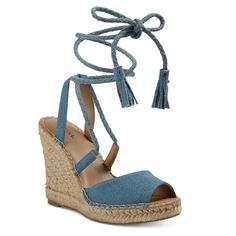Women's Maren Lace Up Wedge Espadrille Sandals - Taupe 9, Light Denim