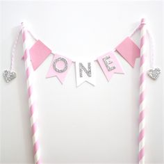 Bunting Cake Topper - 1st Birthday Pink, White and Silver Glitter
