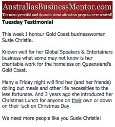 Susie Christie - you are a humanitarian.