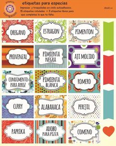 Resultado de imagen para etiquetas para condimentos de cocina Book Labels, Jar Labels, Printable Labels, Free Printables, Kitchen Labels, Foto Transfer, Decoupage Vintage, Vintage Labels, Planner Stickers