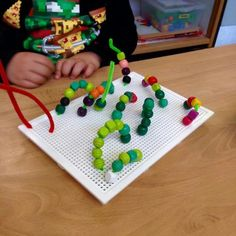 prepare toddler for handwriting activities. You make holes and then kids have to. Motor Skills Activities, Gross Motor Skills, Learning Activities, Preschool Activities, Handwriting Activities, Maila, Chenille, Childhood Education, Early Learning