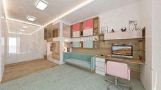 Dizajn modernej priestrannej detskej izby pre dievča #kidsroomdesign Bratislava, Divider, Loft, Bed, Furniture, Design, Home Decor, Decoration Home, Stream Bed
