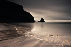 Talisker Bay by Colin Chipchase, via Flickr | monochrome + brown sepia + seascape beach rocks sky clouds