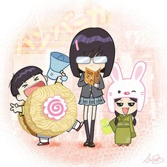 """Here's """"fan art"""" I just did while watching the winter Olympics. I guess it's Nippon-style Chibi Bob's Burger kids. Started off with Gene in a Ramen Burger suit and then I got carried away with drawing the rest of the kids. Tina is reading """"Make Out Tactics""""… anime fans should know what that is. By our friendDamonWong!"""