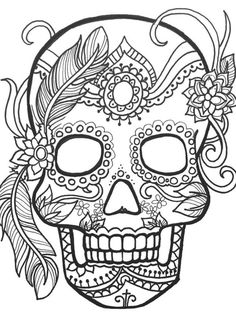 "Sugar Skulls Black And White Series Greeting Card for Sale by Maria Padgett.  Our premium-stock greeting cards are 5"" x 7"" in size and can be personalized with a custom message on the inside of the card.  All cards are available for worldwide shipping and include a money-back guarantee."