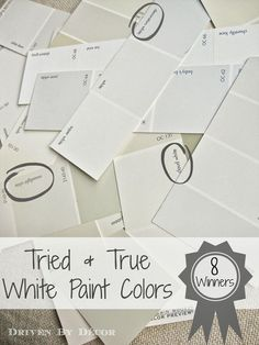 Best White Paint Colors (My Tried & True Favorites!) The hundreds of white paint colors out there are narrowed down to eight manageable choices!The hundreds of white paint colors out there are narrowed down to eight manageable choices! Best White Paint, White Paint Colors, Interior Paint Colors, Paint Colors For Home, White Paints, Wall Colors, House Colors, White Wall Paint, Paint Walls