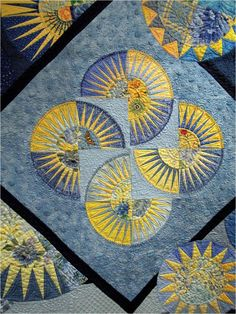 Close-up, Sunlit Circles by Ann L. Petersen.  Blue ribbon winner.  Photo by Quilt Inspiration