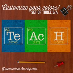 Personalized Teacher Gift of Periodic Elements Teachers Geekery Classroom Nerdy Print Science Art Gifts for Teachers Gag Gift Office Decor