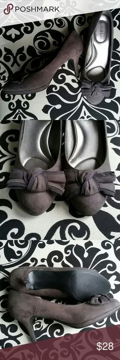 Grey Suede Heels These heels have never been worn (except for the few times in my room that I've tried to convince myself that they fit me... drat!!) With soft grey suede and the sweetest bow detail, these are perfect for work, weddings, or whatever you choose! Kelly & Katie Shoes Heels