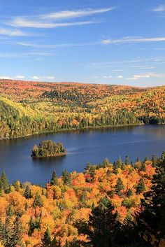 Autumn in La Mauricie National Park, Québec, Canada. It's as if God took a salt shaker and sprinkled Autumn. Beautiful!!