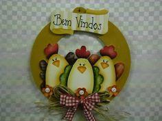 guirlanda galinhas bem vindo | Artesanatos Ingrid Carvalho | 210D1C - Elo7