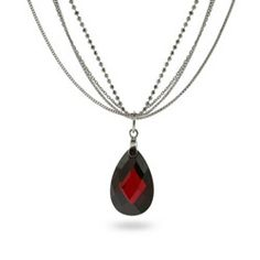 Sterling Silver Jewelry - Extraordinary Multi-Strand Silver Garnet Drop Necklace