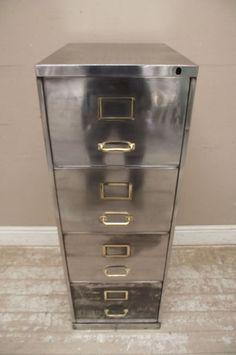polished steel filing cabinet