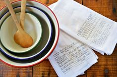 DIY Handwritten Recipe Towels
