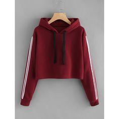 Striped Sleeve Crop Hoodie (640 RUB) ❤ liked on Polyvore featuring tops, hoodies, burgundy, long sleeve hoodie, red cropped hoodie, red hooded sweatshirt, cropped hooded sweatshirt and long sleeve hooded sweatshirt