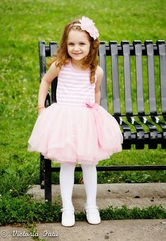 Striped Tutu Dress in Pink from Miki and Alex Boutique