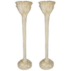Pair of Plaster Foliate Torcheres by Serge Roche