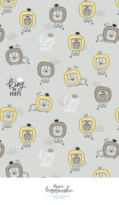 King of naps! Scandinavian minimalistic pattern design with napping lion. Textile design for children.