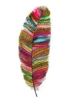 Tribal Rainbow Feather Print by SarahTravisArt on Etsy, £4.00