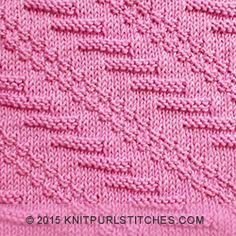 Diagonal knitting stitch  | Knit and purl combinations | knitpurlstitches.com