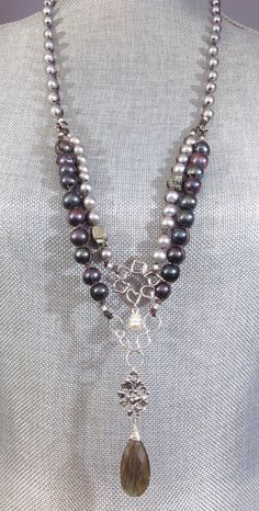 Long Gray and Purple Pearl Necklace with Pyrite, Sterling Charms and a Labradorite Drop on Braided Brown Linen, Bridal Gift, UBN-302 by CJCjeweldesigns on Etsy