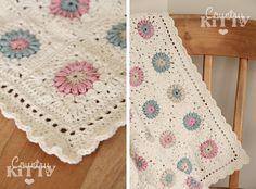 Sunburst granny square pattern by priscilla hewitt, and color shema in cotton yarn.  Pretty!