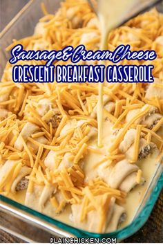 Sausage & Cream Cheese Crescent Breakfast Casserole - Crescent rolls stuffed with sausage and cream cheese then topped with an egg mixture and baked. Easy Breakfast Casserole Recipes, Overnight Breakfast Casserole, Hashbrown Breakfast Casserole, Brunch Recipes, Fun Recipes, Milk Recipes, Bread Recipes, Tater Tot Breakfast