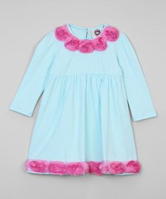 Look at this #zulilyfind! Baby Loo Turquoise & Pink Rosette A-Line Dress by Baby Loo #zulilyfinds