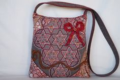 Brown flower crocheted lace bag medium size bag by bokrisztina