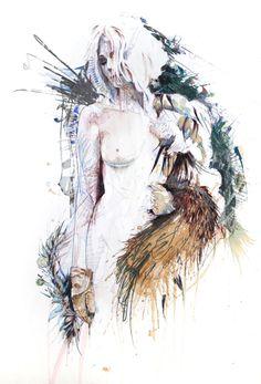 Artist: Carne Griffiths ink, tea & alcohol on paper Artist Art, Artist At Work, Tea Illustration, Web Design, Abstract Portrait, Visual Communication, Amazing Art, Watercolor Art, Contemporary Art