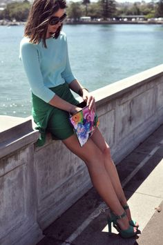 Mint green top and jade/kelly skirt