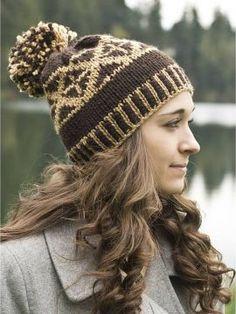 26be8eb833e Cascade Chunky Fair Isle Pom Pom Hat - free pattern Knitting Patterns Free