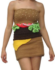 Turn heads with this flattering, one-of-a-kind knit hamburger dress from Joy Kampia O'Shell. If you're vegetarian or fed up with fast food, Joy also makes an old-fashioned-sundae dress, an ice-cream cone dress and a tasty-looking crocheted doughnut necklace.