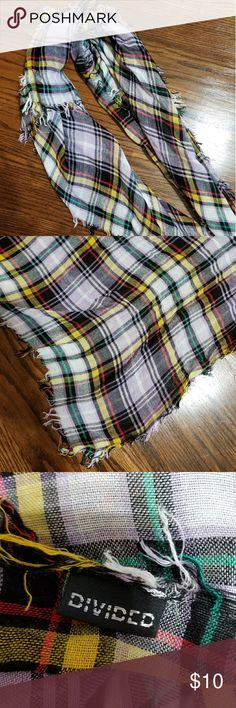 Multi-color Plaid Square Scarf Plaid square scarf with purple, yellow, red, green, black, and white. Small fringe around edges. 37 inches wide. Divided Accessories Scarves & Wraps