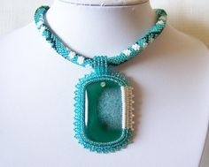 Bead Embroidery Pendant Necklace with Agate  white by lutita