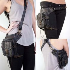 Steampunk-Cyberpunk-Fanny-Packs-Waist-leg-Hip-Holster-Purse-Pouch-Belt-Bag
