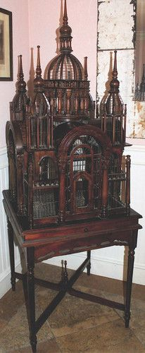 Antique Victorian Wooden Bird Cage