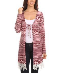 Another great find on #zulily! Red Geometric Lace-Accent Tie-Front Cardigan - Plus #zulilyfinds
