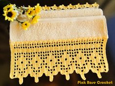 \ PINK ROSE CROCHET /: Barrinha de Crochê Amarela para Toalha de Mão