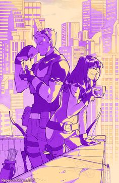 Re-drawn from a summer sketch after finally reading the last of Fraction/Aja's Hawkeye. (Also voluntarily drew a city background; aw sick ew gross)