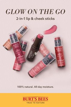 Aglow Lip & Cheek Stick Enhance your natural glow with All Aglow Lip and Cheek Sticks from Burt's Bees. This versatile makeup stick gives lips and cheeks the perfect pop of color. Choose from 6 shades. My Beauty, Beauty Care, Beauty Skin, Beauty Makeup, Beauty Hacks, Beauty Tips, Beauty Products, Beauty Ideas, Burts Bees