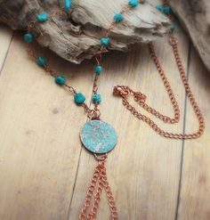 Hammered Copper Shield Turquoise Necklace / by AncientSunDesigns Copper Necklace, Copper Jewelry, Boho Jewelry, Gemstone Jewelry, Unique Jewelry, Beaded Necklace, Jewellery, Turquoise Beads, Turquoise Necklace