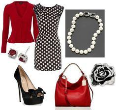 Spotty Dotty! Cute Fashion, Work Fashion, Fashion Outfits, Womens Fashion, Fashion Ideas, Work Wear, Dot Dress, Dress Skirt, Ball Necklace