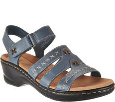 A stylish way to step into spring and summer, these leather sandals show off with decorative stitching and goldtone hardware. From Clarks Footwear. Girls Sandals, Shoes Sandals, Dress Shoes, Heels, Flat Sandals, Leather Ballet Flats, Leather Sandals, Carrie, Martin Boots