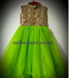 Kids Frock in Parrot Green - Indian Dresses