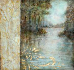 """Flourish"" Michaelle Peters Charlwood, michaellepc.com / encaustic, oil, mixed media, gold leaf on panel, 12x12"""