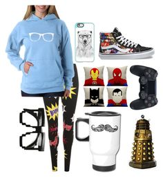 """Geek"" by youtubegirl777 ❤ liked on Polyvore featuring WearAll, Los Angeles Pop Art, Casetify, ZeroUV, Penumbra, Marvel Comics and Vans"