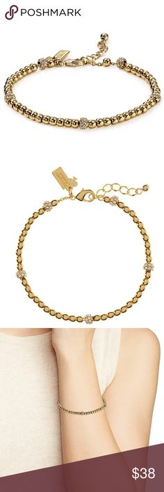 "NWOT Kate Spade Gold 12k Pavé Ball Charm Bracelet 7""L with 1"" extension 12k gold–plated metal/crystal  NEW without tags. Soldout item. Charms not included.  Price firm.  The last two photos were from the actual bracelet I'm selling. kate spade Jewelry Bracelets"